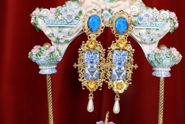 8617 Baroque Sicilian Tile Blue Vase Long Earrings