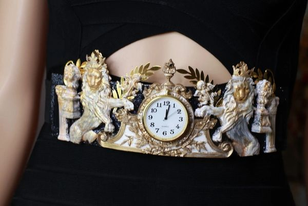 SOLD! 8620 Art Jewelry Roman Vintage Clock Lions Embellished Waist Gold Belt Size S, L, M