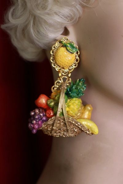8622 Baroque Picnic Basket Fruits Hand Painted Studs Earrings
