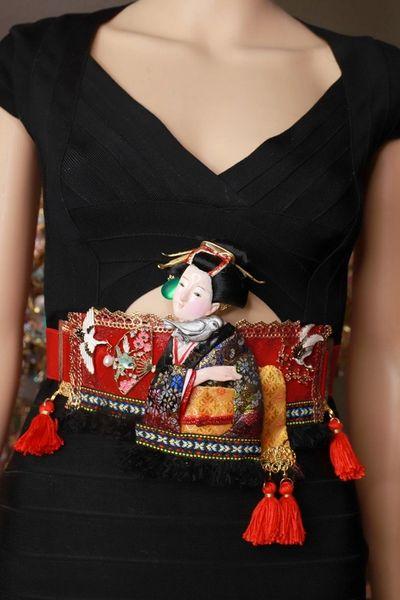 SOLD! 8623 Art Jewelry Geisha Kimono 3D Effect Embellished Waist Gold Belt Size S, L, M
