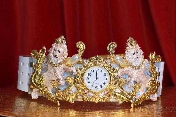 SOLD! 8625 Art Jewelry Roman Vintage Clock Lions Embellished Waist Gold Belt Size S, L, M