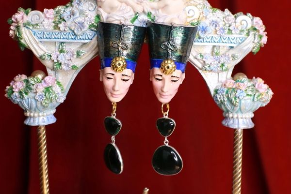 8626 Egyptian Revival Green Rhinestone Cleopatra Earrings
