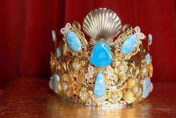 8627 Baroque Genuine Caribbean Larimar Solar Quartz Gemstones Shell Tall Crown