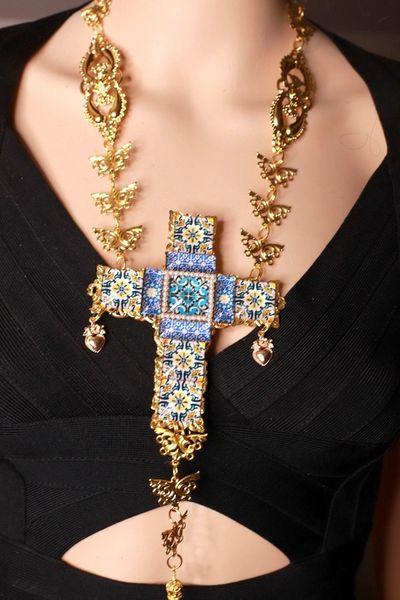 8628 Baroque Sicilian Tile Print Massive Cross Necklace