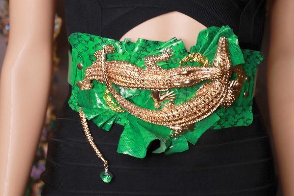 8629 Art JewelryGenuine Snake Skin Crocodiles 3D Effect Embellished Waist Gold Belt Size S, L, M