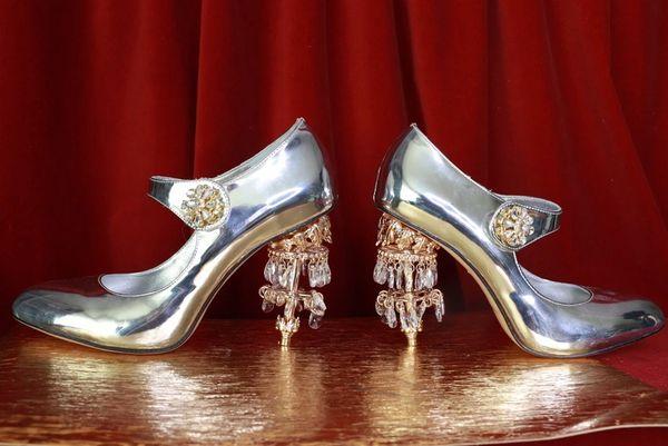 8632 Baroque Silver Genuine Leather Chandelier Heel Shoes Heels Size US9