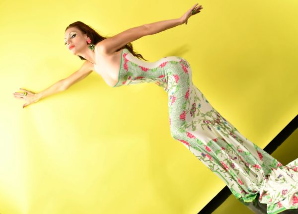 8633 Photosession Performance Asian Print Japanese Long Train Stretchy Size S-M