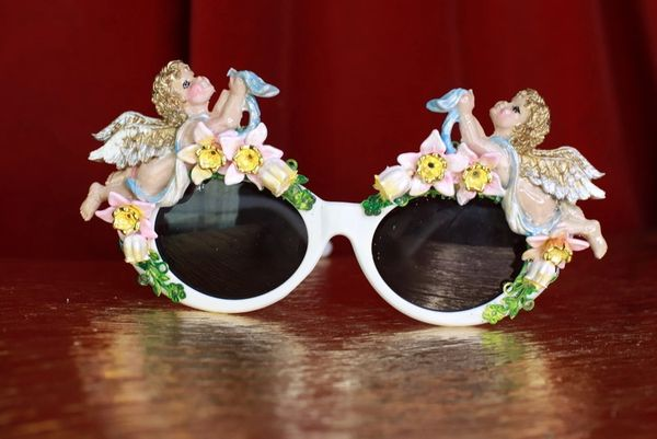 8634 Baroque Bright Hand Painted Faced Cherubs Angels Embellished Sunglasses
