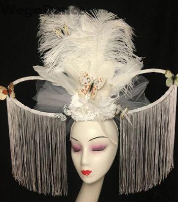 8635 Bridal Performance Large Feather Tassel Headband Hairwear