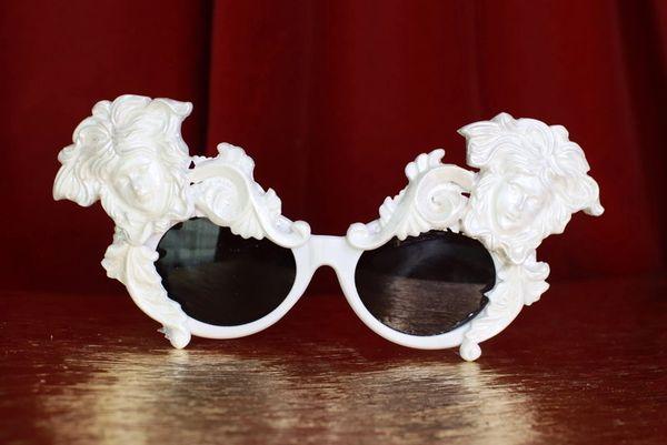 8636 Baroque Faces White Architect Embellished Sunglasses