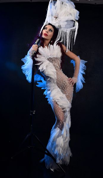 8633 Photosession Performance Ostrich Feather Pearl Beaded Sheer Dress Size S-M
