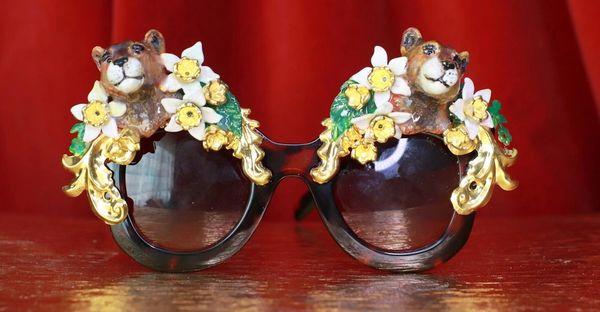 8640 Baroque Leopard animal Flower Embellished Sunglasses