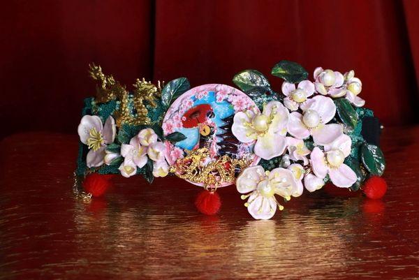 SOLD! 8641 Art Jewelry Kimono 3D Effect Sakura Blossom Pom Pom Embellished Waist Gold Belt Size S, L, M