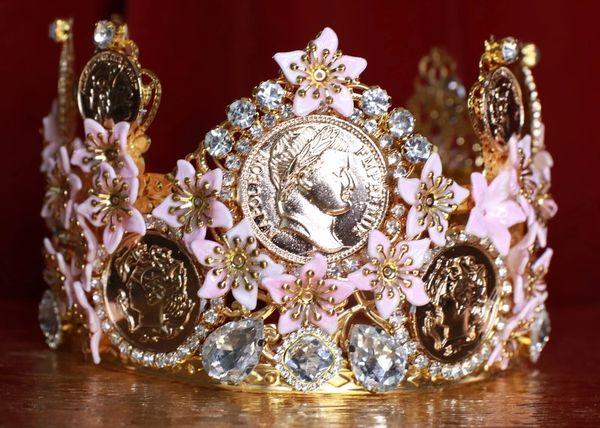 8642 Baroque Roman Coin Flower Blossom Tall Crown