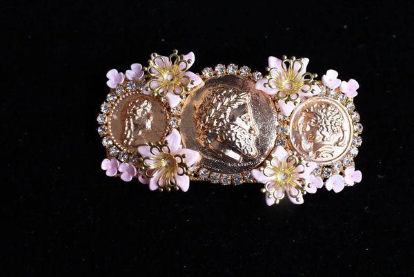 SOLD! 8643 Baroque Roman Coin Flower Blossom Barrette