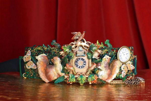 SOLD! 8646 Art Jewelry Oak Coo Coo Clock Squirrels Embellished Waist Gold Belt Size S, L, M