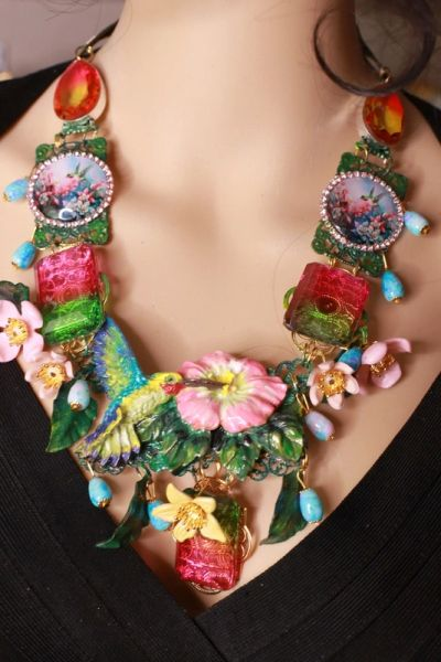 8647 Art Jewelry 3D Effect Hand Painted Hummingbird Genuine Tourmaline Massive Statement Necklace+ Earrings