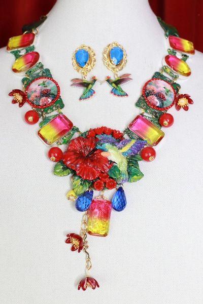 8648 Art Jewelry 3D Effect Hand Painted Hummingbird Genuine Tourmaline Massive Statement Necklace+ Earrings