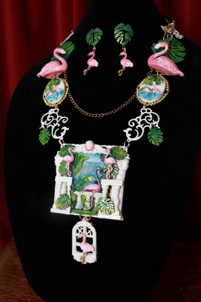 8649 Set Of Art Jewelry 3D Effect Hand Painted Vacation Flamingos Statement Necklace+ Earrings