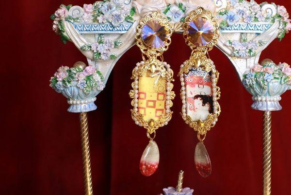 8651 Gustav Klimt Cameo Irregular Studs Statement Earrings