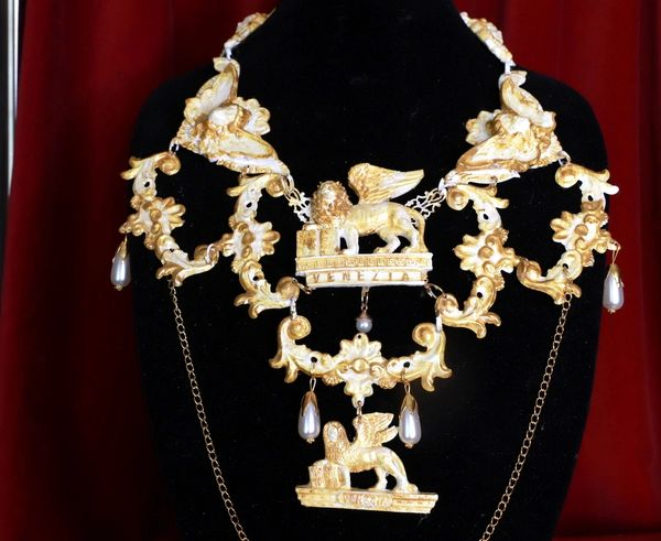 SOLD! 8652 Medieval Vintage Style Lions Venezia Massive Collar Necklace
