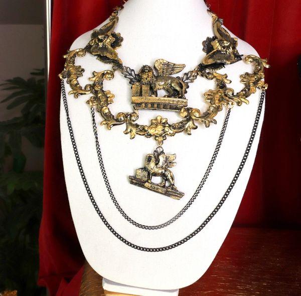 SOLD! 8653 Medieval Vintage Style Lions Venezia Massive Collar Necklace