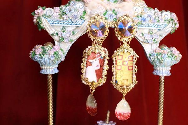 8654 Gustav Klimt Cameo Irregular Studs Statement Earrings