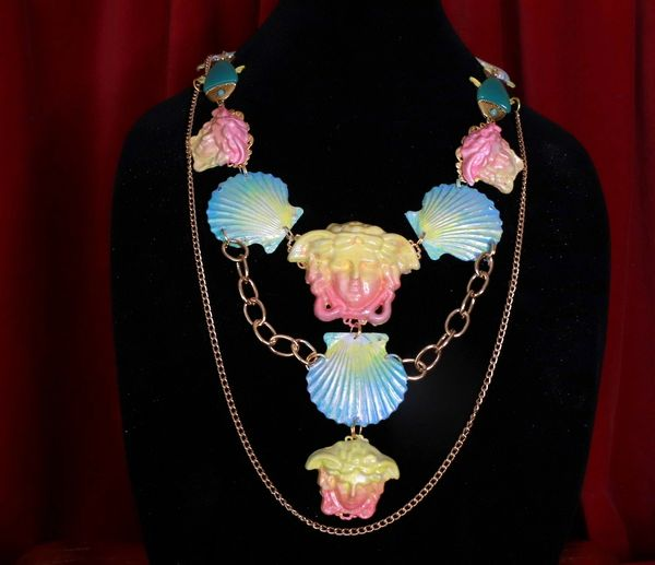8655 Art Jewelry 3D Effect Hand Painted Mystical Heads Ombre Nautical Necklace