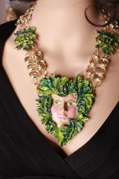 8657 Set Of Art Jewelry 3D Effect Hand Painted Mystical Head Oak Necklace+ Earrings