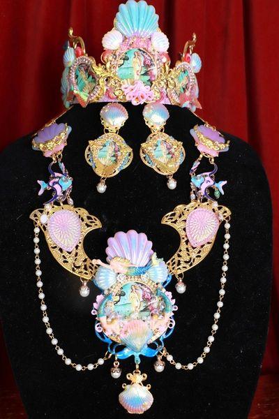 SOLD! 8666 Birth Of Venus Sea Horse Fish Baroque Necklace SET