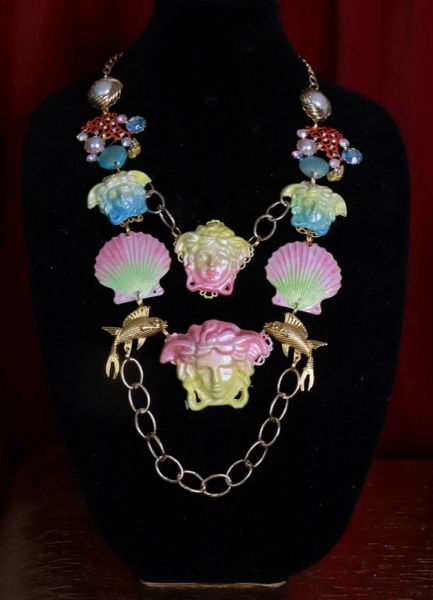 8669 Art Jewelry 3D Effect Hand Painted Mystical Heads Ombre Nautical Necklace