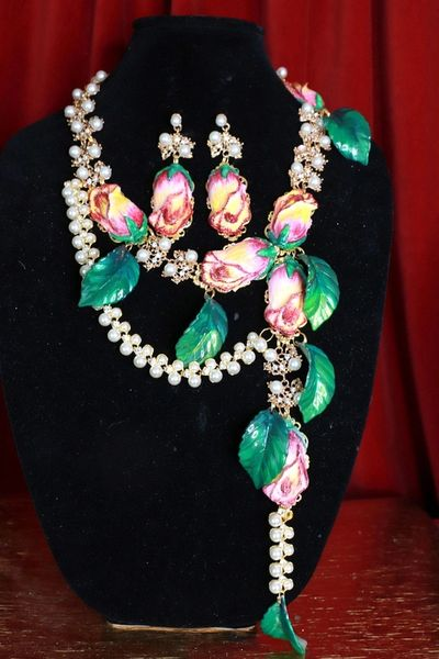 SOLD! 8670Set Of Rose Flower Cabochon Pearl Necklace+ Earrings