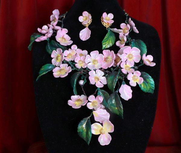 8671 Set Of Sakura blossom Hand Painted Massive Necklace+ Earrings