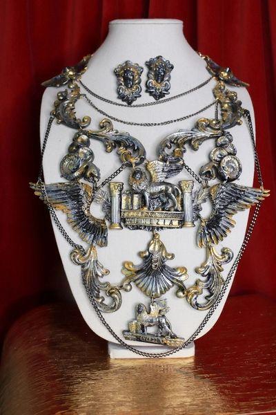 SOLD! 8677 Medieval Art Jewelry 3D Effect Hand Painted 3D Effect Venezia Necklace