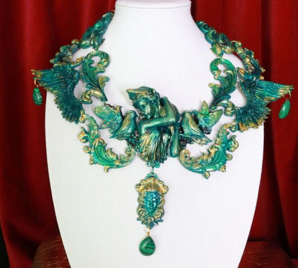 SOLD! 8678 Medieval Art Jewelry 3D Effect Hand Painted Roman Statue Malachite Stone effect Necklace