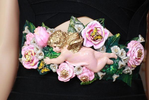 8682 Art Jewelry Baroque Cherub Flowers Embellished Waist Gold Belt Size S, L, M