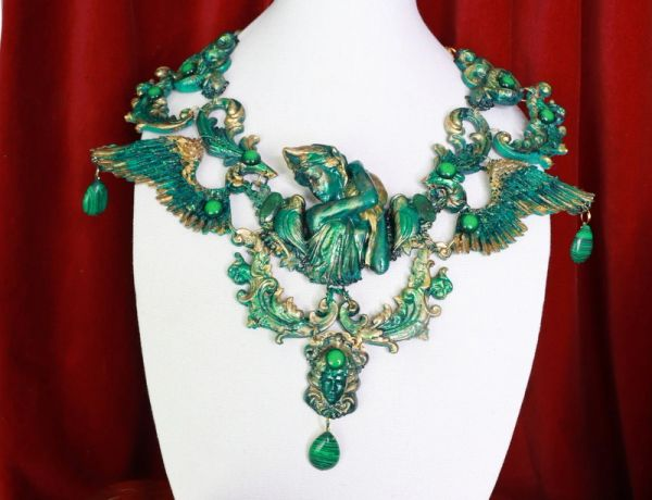 8683 Medieval Art Jewelry 3D Effect Hand Painted Roman Statue Malachite Stone effect Necklace