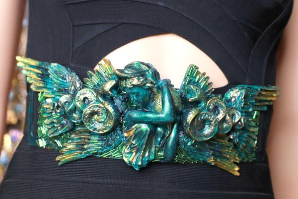 SOLD! 8684 Medieval Art Jewelry 3D Effect Hand Painted Roman Statue Malachite Stone effect Embellished wide Waist Belt size S, M, L