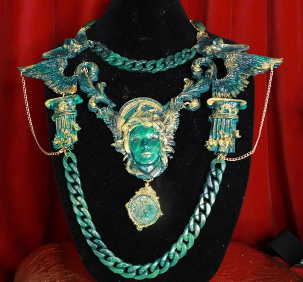 SOLD! 8685 Medieval Art Jewelry 3D Effect Hand Painted Medusa Gorgon Malachite Stone effect Necklace