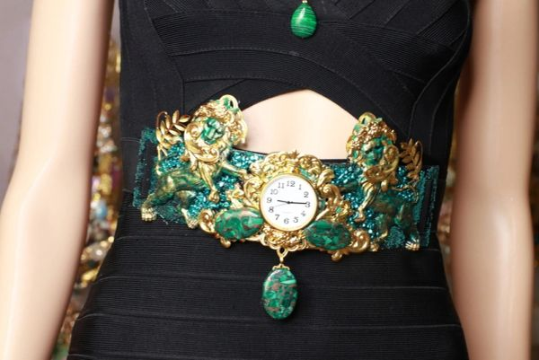 8686 Medieval Art Jewelry 3D Effect Hand Painted Clock Lions Malachite Stone effect Embellished wide Waist Belt size S, M, L