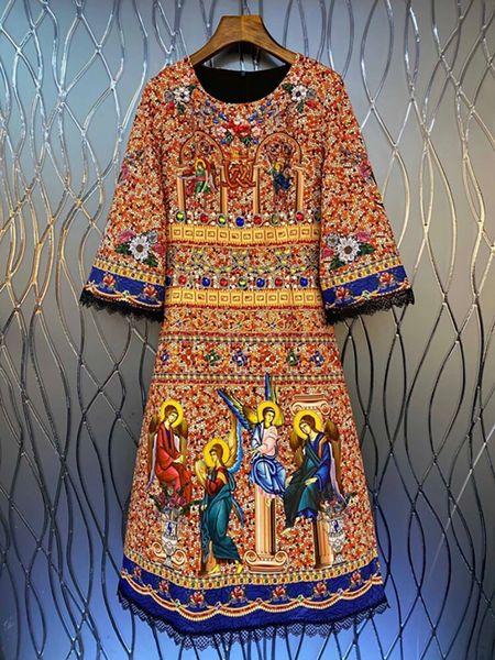 8687 Runway 2021 Baroque Mosaic Print Midi Dress