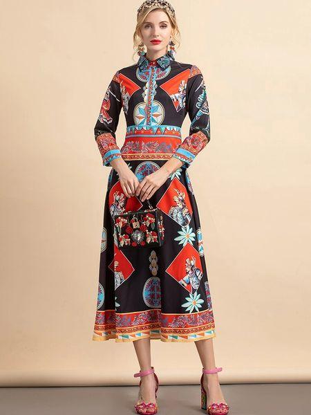 8688 Runway 2021 Baroque Knight Print Midi Dress