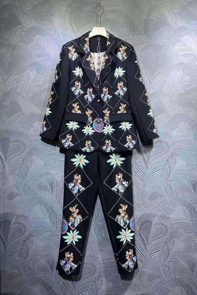 8689 Runway 2021 Baroque Knights Print Blazer+ Pants Twinset