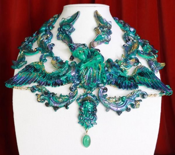 SOLD! 8691 Medieval Art Jewelry 3D Effect Hand Painted Roman Statue Iridescent Malachite Stone effect Necklace