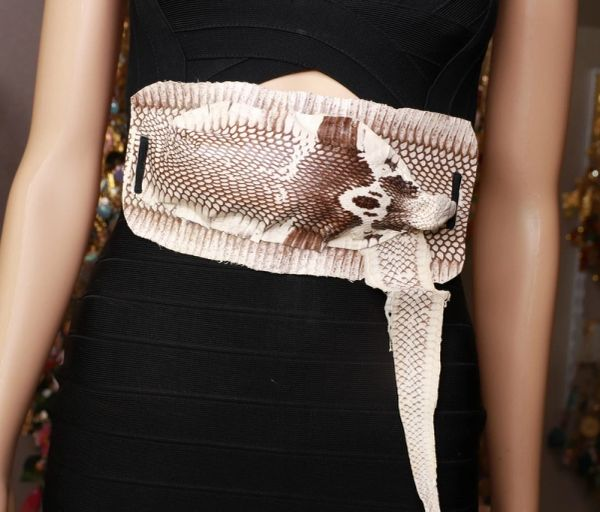 8695 Art Jewelry 3D Effect Genuine Snake Skin Embellished wide Waist Belt size S, M, L