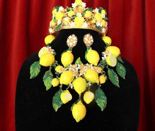 SOLD! 8702 Set Of Baroque 3D Effect Lemon Fruit Statement Necklace+ Earrings
