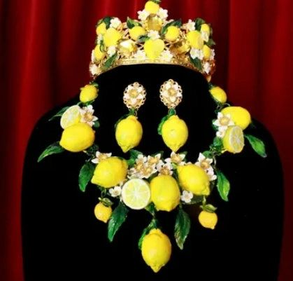SOLD! 8701 Set Of Baroque 3D Effect Lemon Fruit Statement Necklace+ Earrings