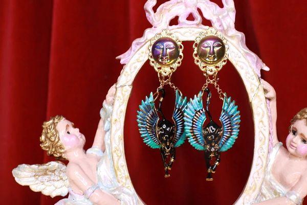 8704 Egyptian Revival Bastet Enamel Studs Earrings