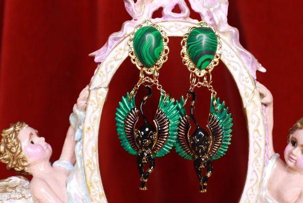 8705 Egyptian Revival Bastet Enamel Genuine Malachite Studs Earrings