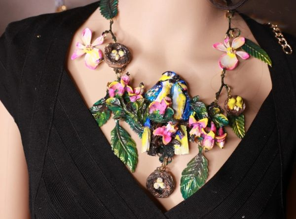 8707 Set Of Hand Painted 3D Effect Art Jewelry Birds Blue Jay Necklace+ Earrings
